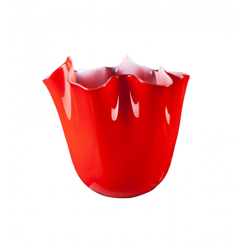 Fazzoletto Red Handkerchief Vase Handmade In Murano Glass