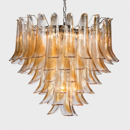 Tulip Chandelier 7 Lights Amber